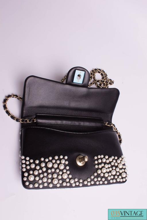 Chanel Pearly Flap Bag Cross Body WOC Wallet on Chain - black 5