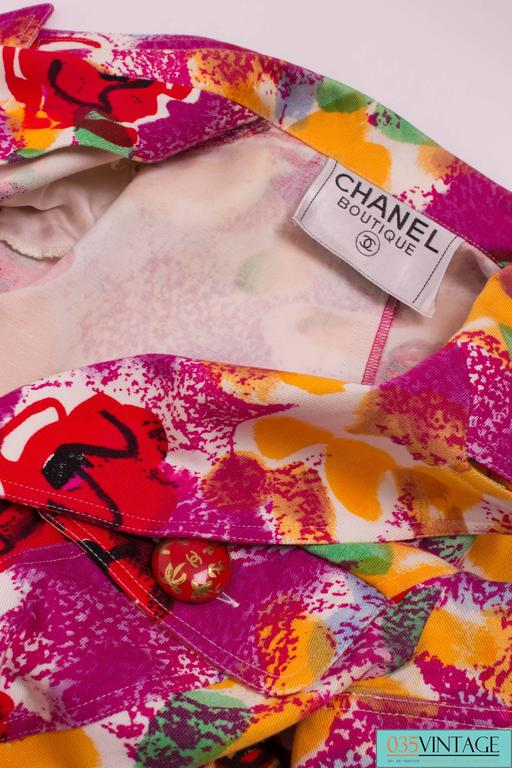 Chanel Vintage Dress Ready To Wear 1997 - pink/yellow/purple/red/green In Excellent Condition For Sale In Baarn, NL