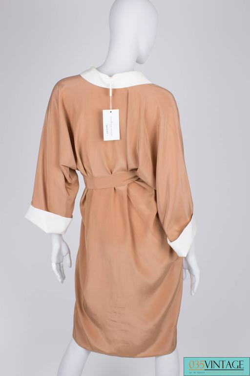 Brown Salvatore Ferragamo Silk Dress - camel/white For Sale