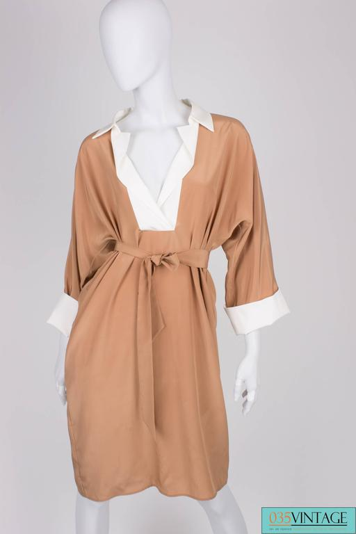 Salvatore Ferragamo Silk Dress - camel/white In New Condition For Sale In Baarn, NL