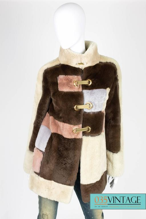 Emilio Pucci Rabbit Fur Coat - brown/beige/gray/pale pink  In Excellent Condition For Sale In Baarn, NL