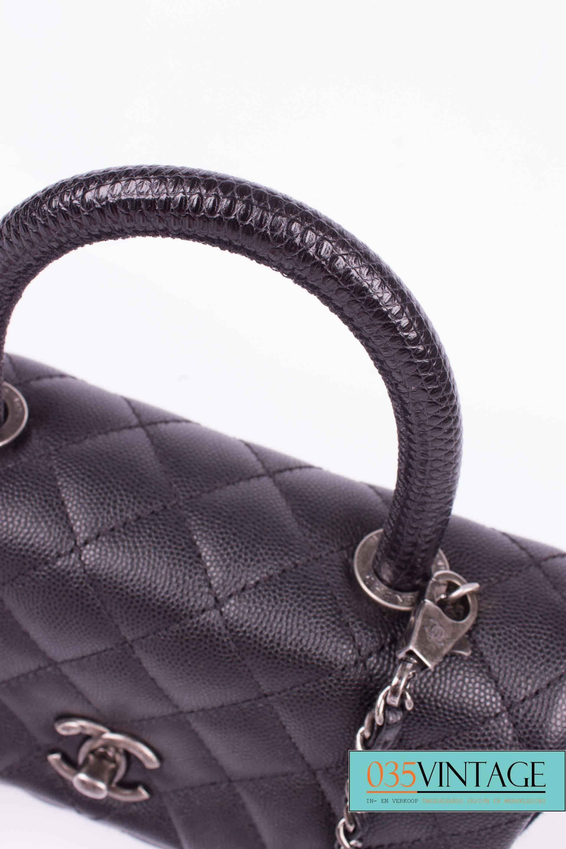 6f8d5358c894 Chanel Coco Handle Flap Bag Mini Lizard and Caviar Quilted Leather - black  at 1stdibs