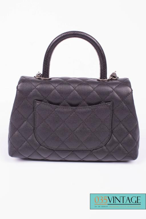 aa6bf8979281c8 Chanel Coco Handle Flap Bag Mini Lizard and Caviar Quilted Leather - black  In New Condition