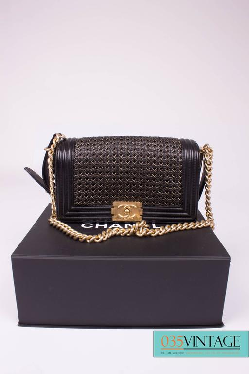 Black Chanel Le Boy Bag Woven Limited Edition Spring 2014 - black/gold  For Sale