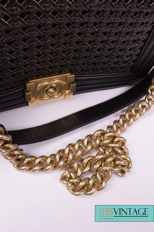 Chanel Le Boy Bag Woven Limited Edition Spring 2014 - black/gold  For Sale 1