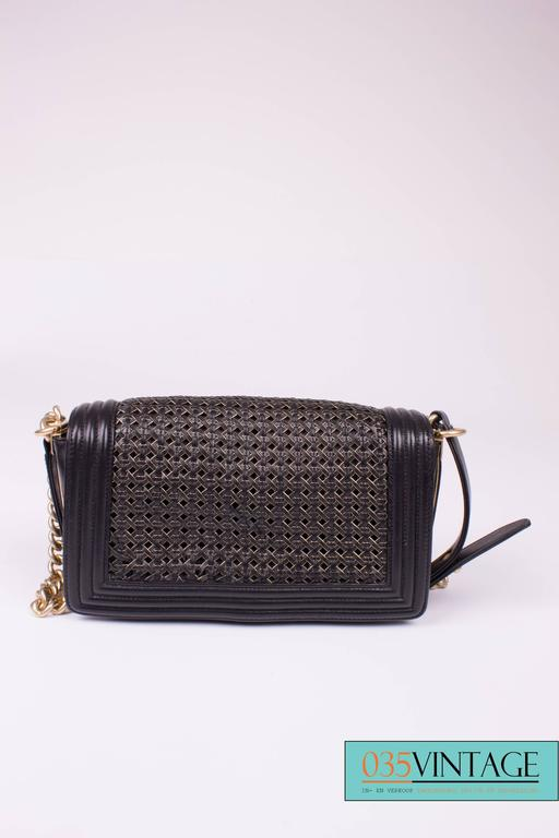 Chanel Le Boy Bag Woven Limited Edition Spring 2014 - black/gold  For Sale 3