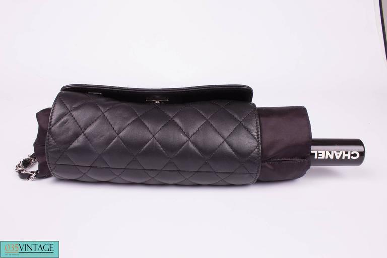 Chanel Umbrella Case Single Flap Bag - black leather For ... |Umbrella With Carrying Case Strap