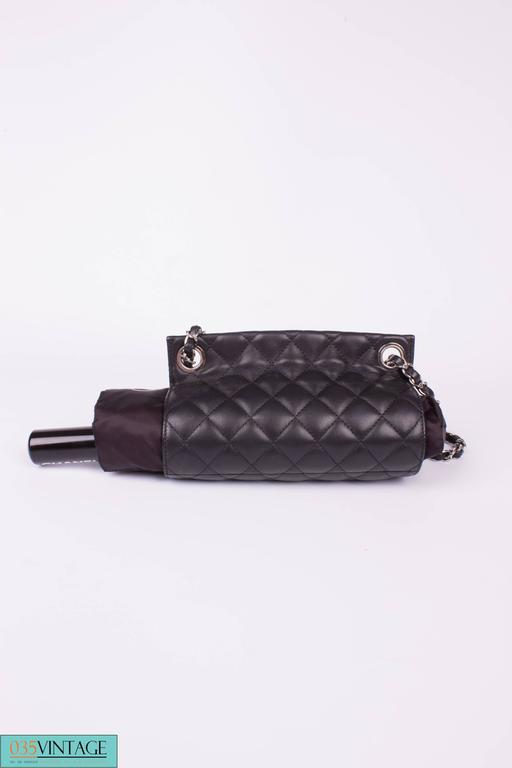 Chanel Umbrella Case Single Flap Bag - black leather 3