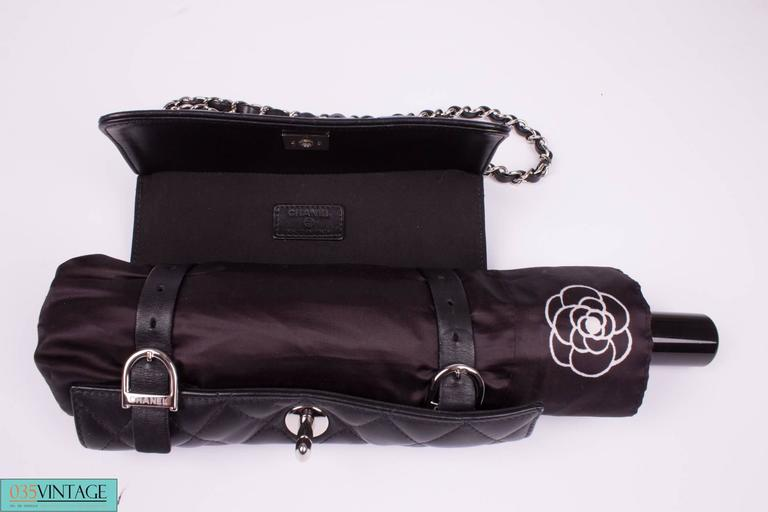 Chanel Umbrella Case Single Flap Bag - black leather In Excellent Condition For Sale In Baarn, NL