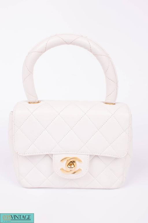 b7fc90fd Chanel Micro Mini Kelly Flap Bag Vintage - off-white +leather gloves
