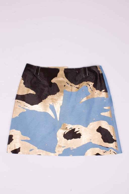 Chanel Calfskin Skirt - light blue/brown/gold  2