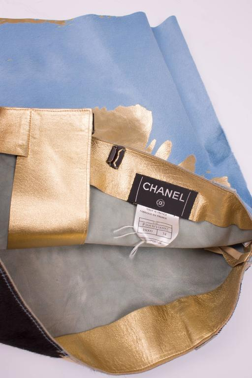 Chanel Calfskin Skirt - light blue/brown/gold  4