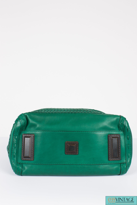 488792905ea Gucci Medium Handmade Woven Double Handle Bag - green leather at 1stdibs