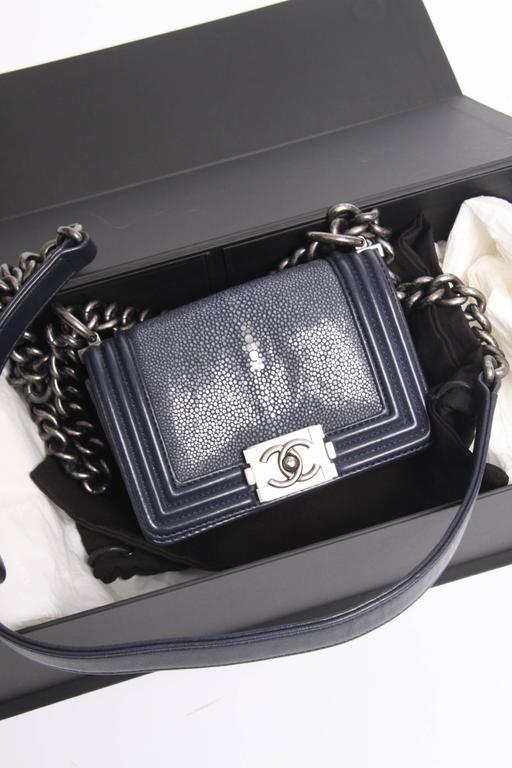 36b538688ed6 Chanel Mini Boy Bag Stingray Limited Edition - dark blue at 1stdibs