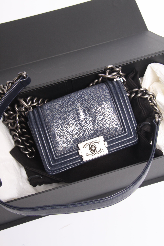 e27b765e9e5cea Chanel Mini Boy Bag Stingray Limited Edition - dark blue at 1stdibs