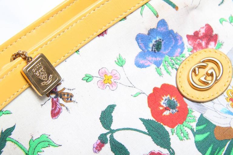 Gucci Floral Print Crossbody Bag Vintage Yellow At 1stdibs