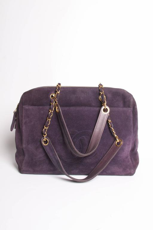 Chanel Shopping Tote Bag - purple suede 4