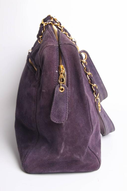 Chanel Shopping Tote Bag - purple suede 7