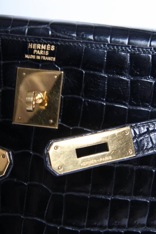 71b3754bde5a2 Hermes Kelly 32 Crocodile Leather Bag - black-collector s item and very  very rar For