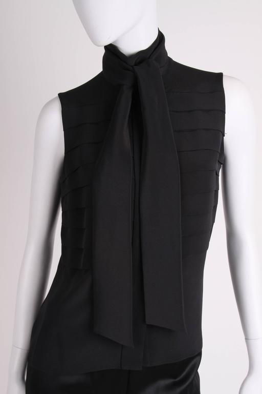 Chanel Silk Sleeveless Blouse - black  For Sale 1