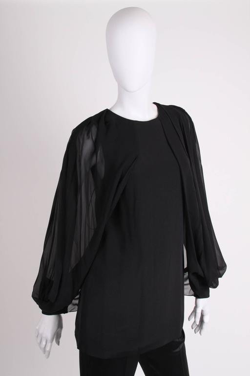 Gucci Silk Open Sleeve Blouse - black 2