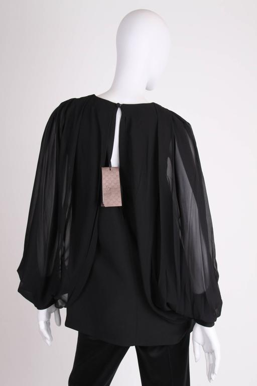 Gucci Silk Open Sleeve Blouse - black 4
