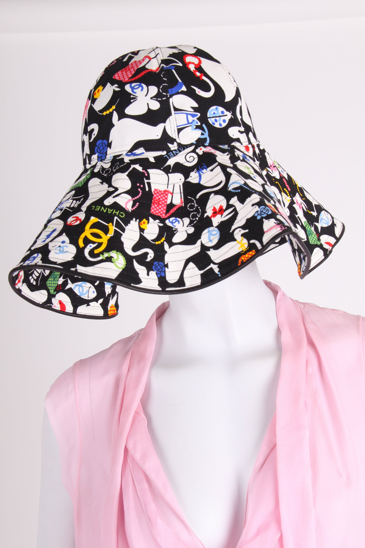 2a8d15908 Chanel Black & White Oversized Cotton Sun Hat - multi color