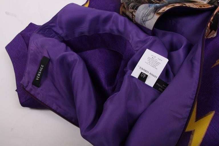 Gray Versace & Tim Roeloffs Art Print Silk Dress - purple For Sale