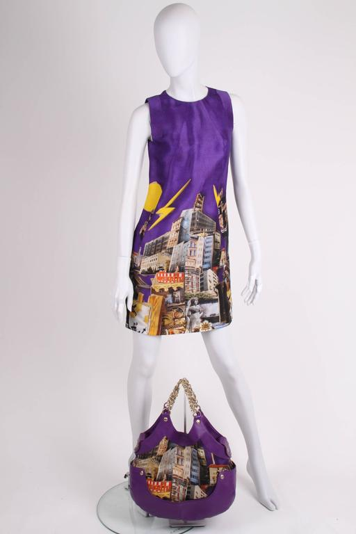 Versace & Tim Roeloffs Art Print Silk Dress - purple In New Condition For Sale In Baarn, NL