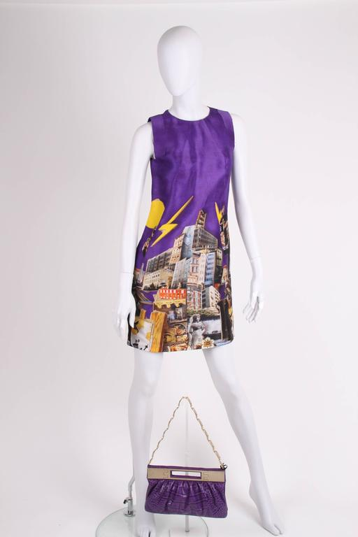 Women's Versace & Tim Roeloffs Art Print Silk Dress - purple For Sale