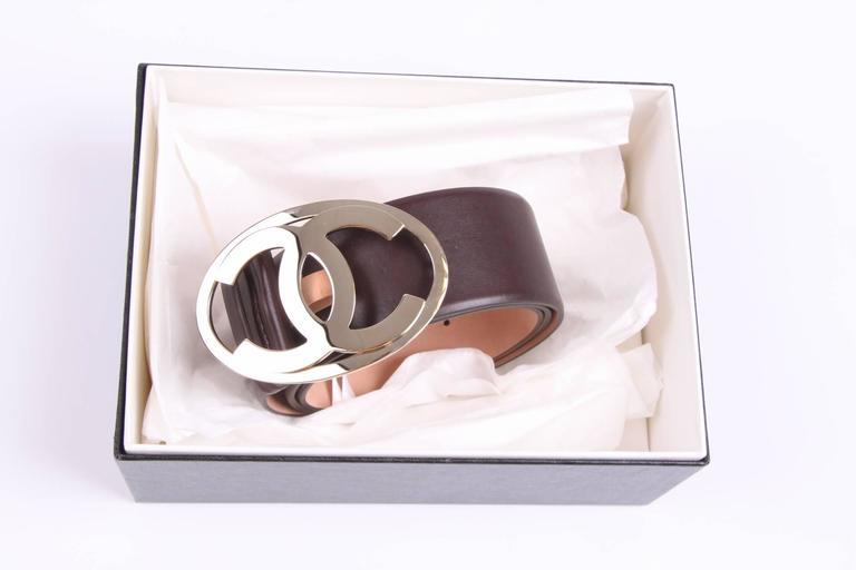 Chanel Leather Belt - dark brown/silver  2