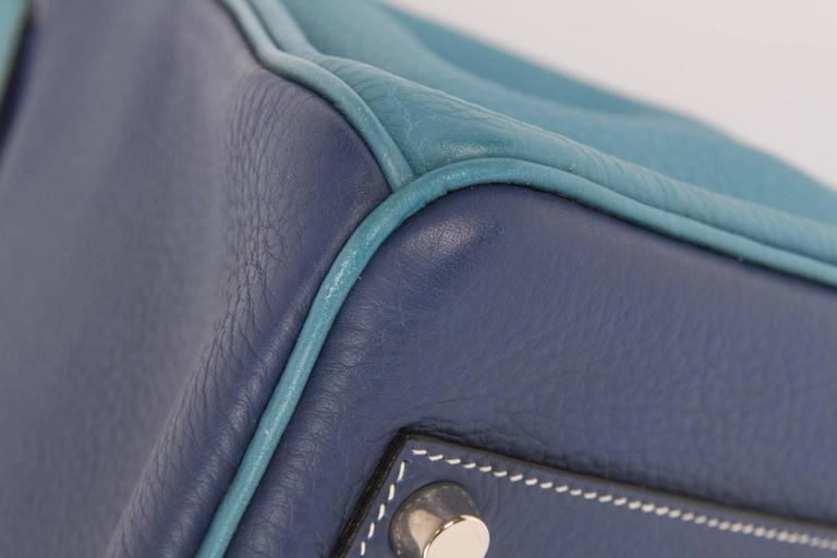 HERMES Birkin 35 Bicolor Blue Jean and Brighton Blue Very Rare In Excellent Condition For Sale In Baarn, NL