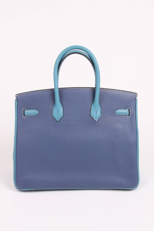 HERMES Birkin 35 Bicolor Blue Jean and Brighton Blue Very Rare For Sale 5