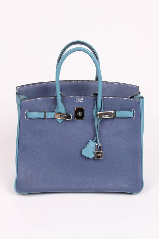 HERMES Birkin 35 Bicolor Blue Jean and Brighton Blue Very Rare For Sale 6