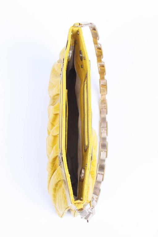 Versace Leather Clutch Croco Print - yellow 2008 For Sale 1