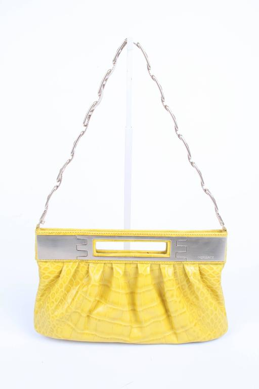 Yellow Versace Leather Clutch Croco Print - yellow 2008 For Sale