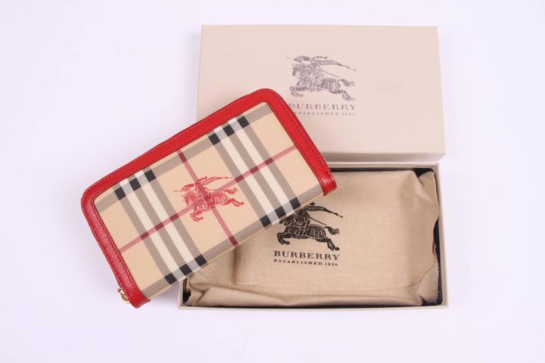 Beige  Burberry Zip Around Wallet - beige/black/red/white