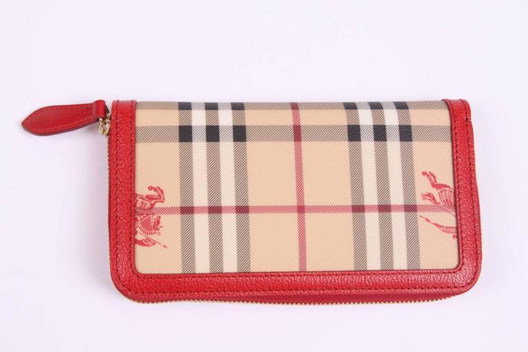 Women's  Burberry Zip Around Wallet - beige/black/red/white