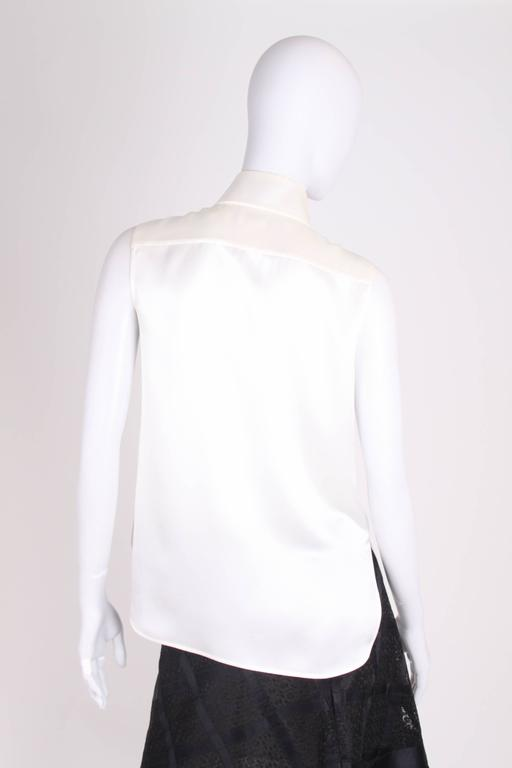 Chanel Silk Sleeveless Blouse - ivory white  2