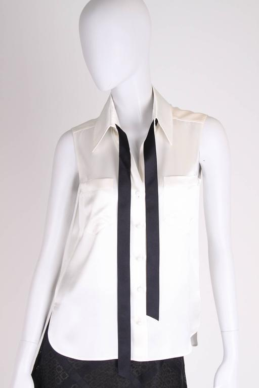 Chanel Silk Sleeveless Blouse - ivory white  3