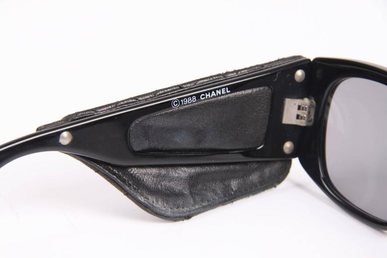 Women's or Men's Vintage Chanel Sunglasses with Black Leather Quilted Temples - black For Sale