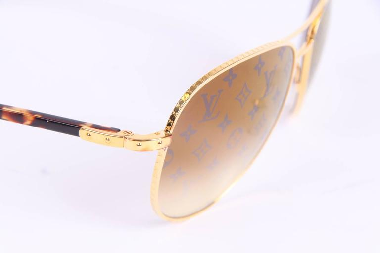 Louis Vuitton Conspiration Pilote Sunglasses - gold/brown For Sale 2