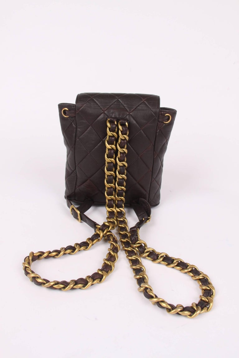 Chanel Quilted Mini Backpack - dark brown/gold  5