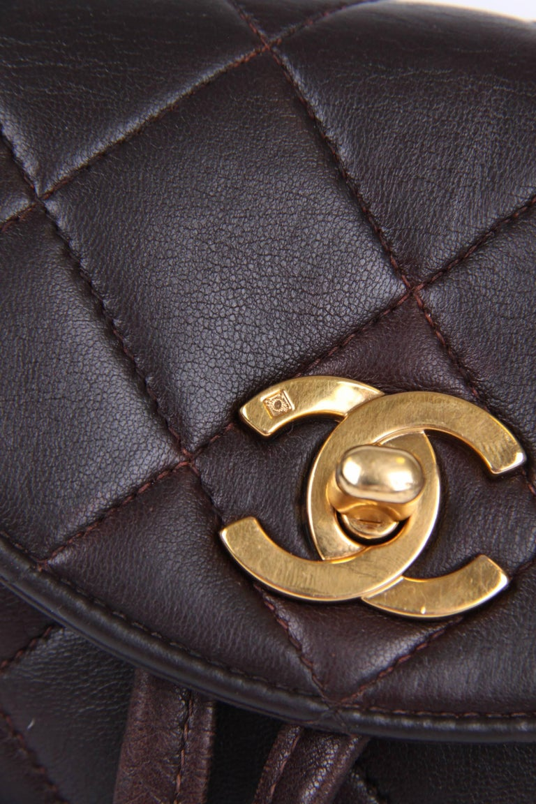 Chanel Quilted Mini Backpack - dark brown/gold  7