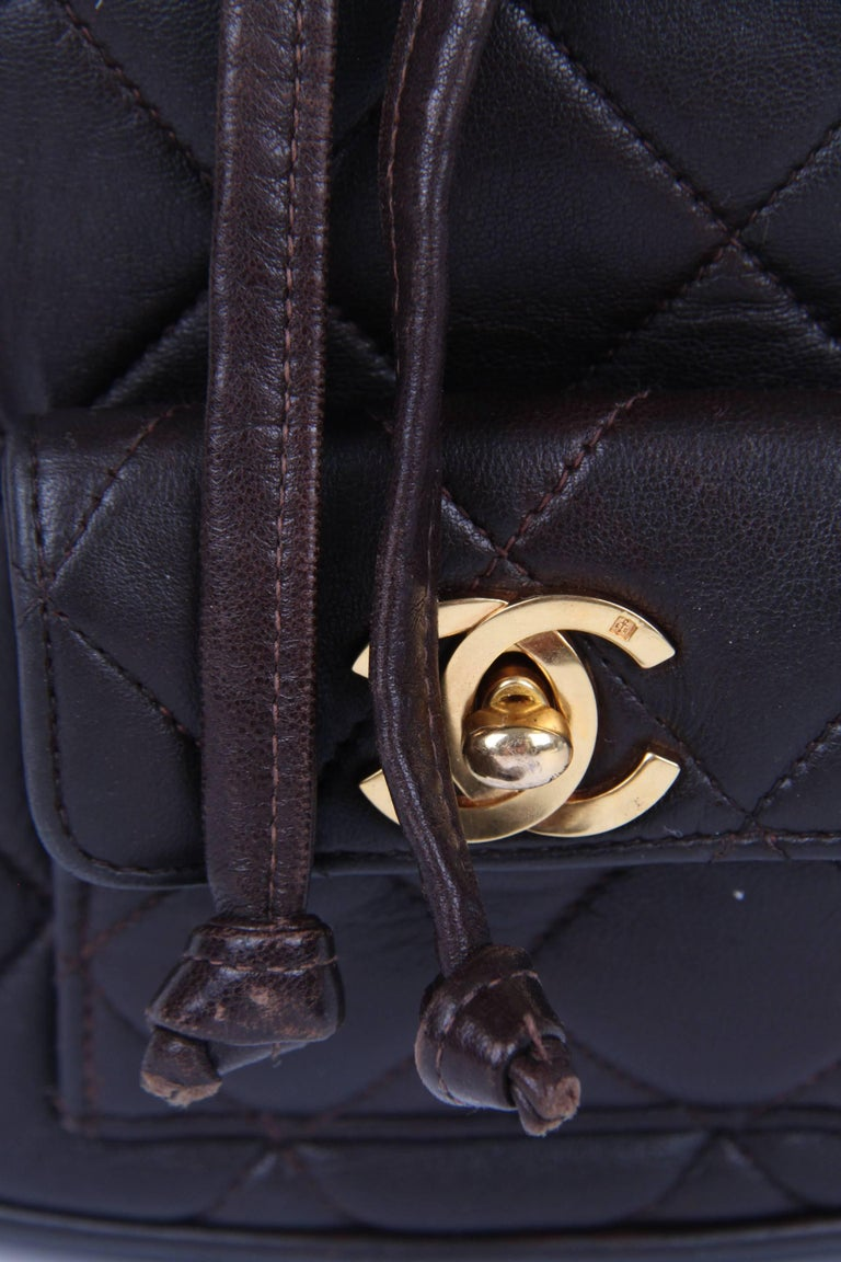 Chanel Quilted Mini Backpack - dark brown/gold  8