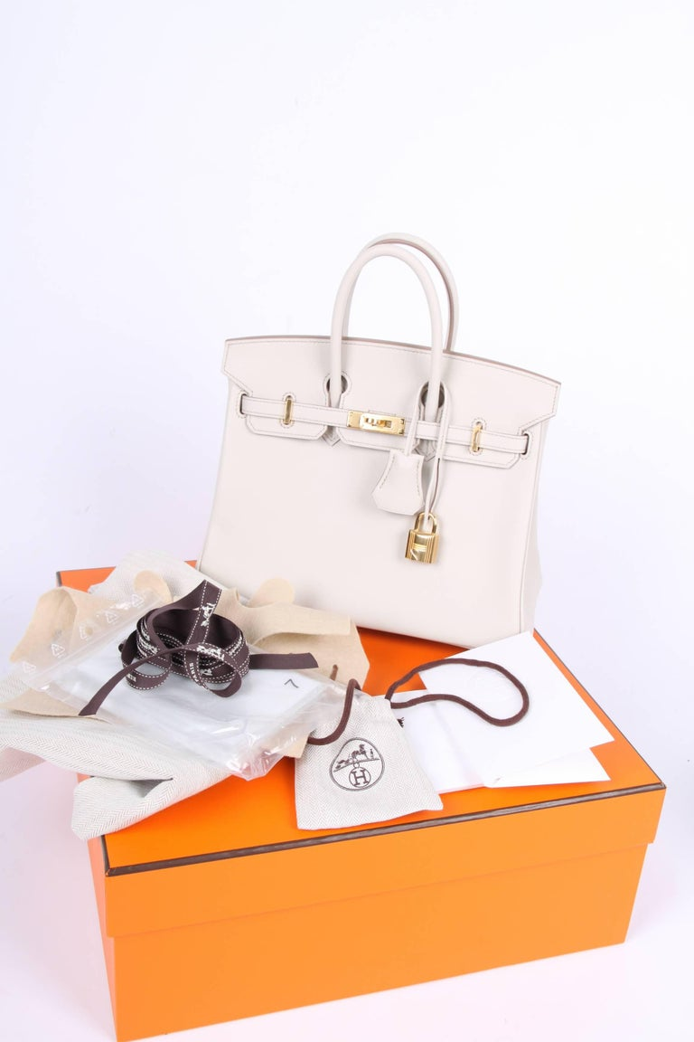 New! Hermes Birkin 25 Calfskin Leather - Beton 2017-  very rare! For Sale 3