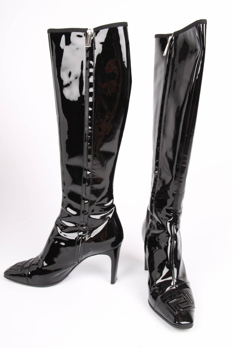 versace patent leather knee high boots black for sale at