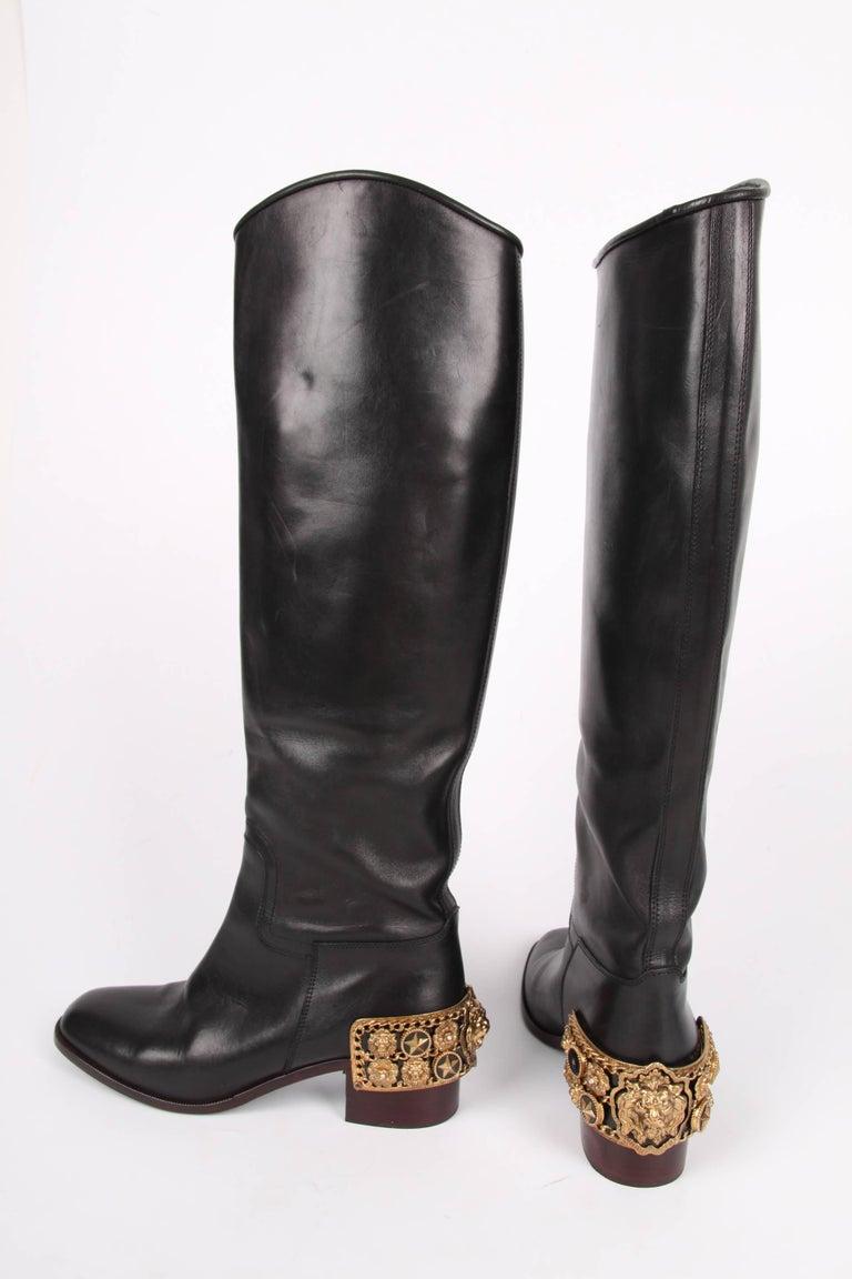 Chanel Paris Monte Carlo Leather Riding Boots Black Gold
