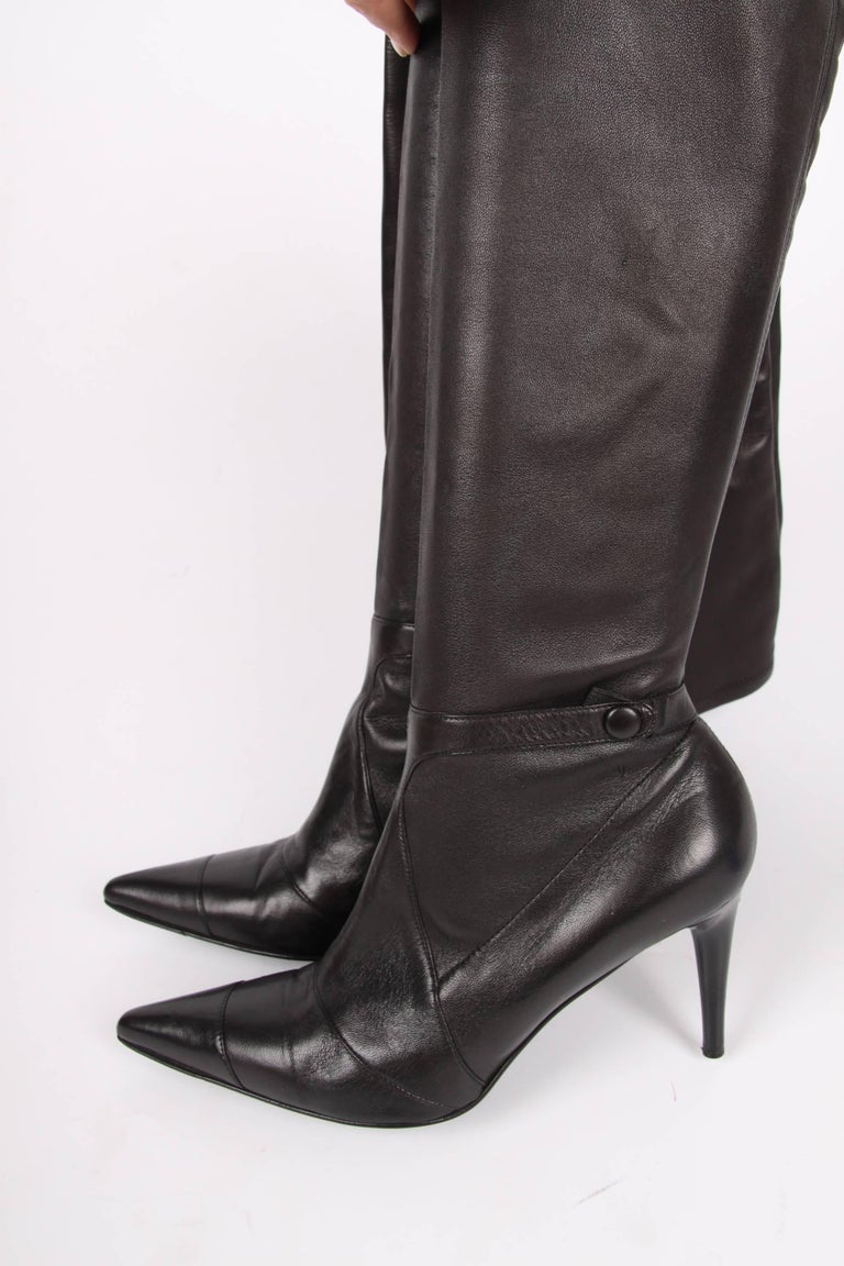 Chanel Lambskin Leather Thigh High Boots Black At 1stdibs