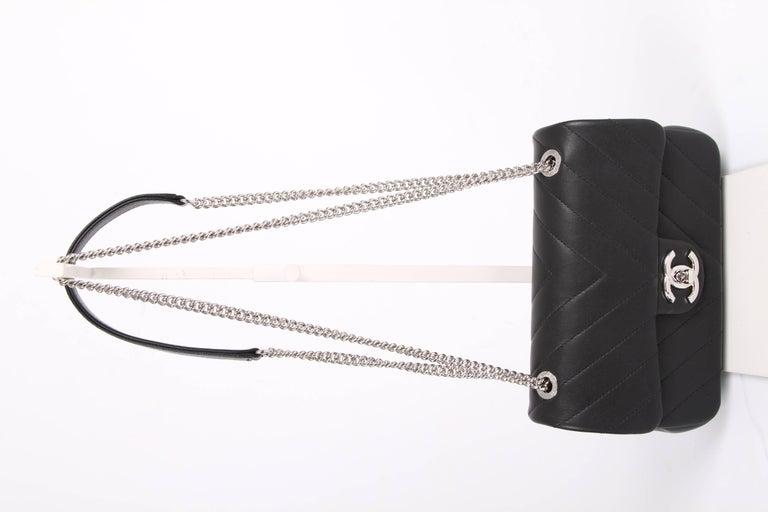 8b8bd8d45965 Black Chanel Mini Chevron Quilted Rectangular Flap Bag - black For Sale